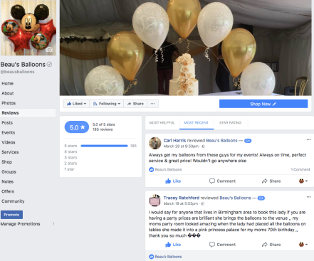 Beau's Balloons Customer reviews on Facebook